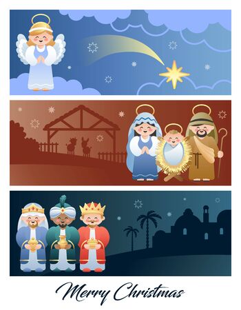 Merry Christmas. Christmas Nativity Scene with Holy Family, Angel and the Three Wise Men. Cute cartoon characters. Vector illustration. Иллюстрация