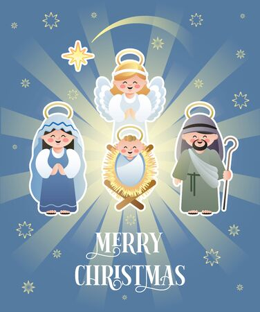 Merry Christmas. Christmas Nativity Scene with Holy Family and Angel. Cute cartoon characters. Vector illustration.