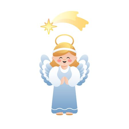Cute illustration of Angel and the Bethlehem shooting star on white background. Vector illustration.  イラスト・ベクター素材