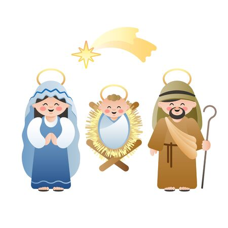 Christmas Nativity Scene. The Holy Family and the Bethlehem shooting star on white. Cute cartoon characters. Vector illustration.  イラスト・ベクター素材