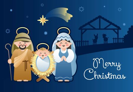 Merry Christmas. Christmas Nativity Scene with Holy Family and the Bethlehem shooting star. Cute cartoon characters. Vector illustration.  イラスト・ベクター素材