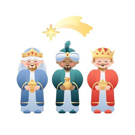 Illustrazione di Natale. I tre re o tre saggi e la stella cadente di Betlemme su bianco. Simpatici personaggi dei cartoni animati. Illustrazione vettoriale. Vettoriali