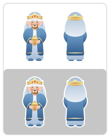 Two Sided Nativity icon and sticker of the Wise Man or King. Cute cartoon character. Vector illustration without transparency.