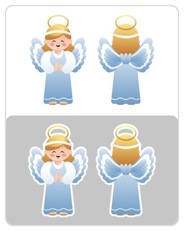 Two Sided Nativity icon and sticker of the Angel. Cute cartoon character. Vector illustration without transparency.