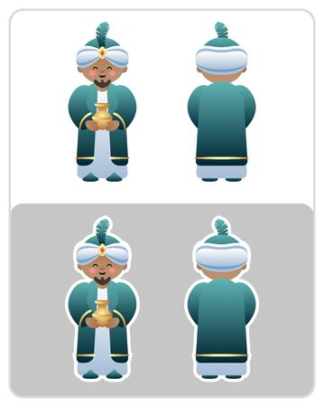 Two Sided Nativity icon and sticker of the King or Wise Man. Cute cartoon character. Vector illustration without transparency. Illustration