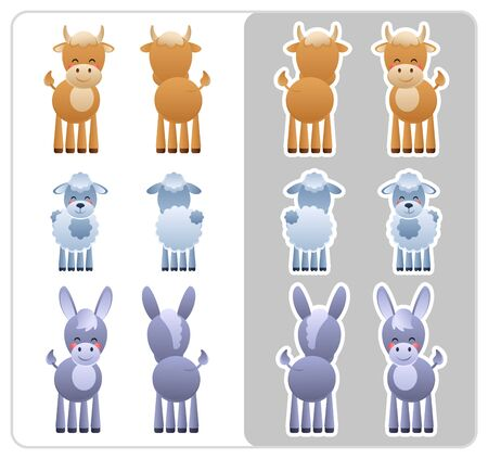 Two Sided icons and stickers of the farm animals Bull, Donkey and Sheep. Cute cartoon characters good for Nativity Scene. Vector illustration without transparency. Illustration