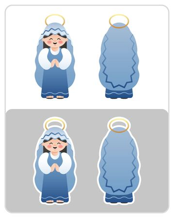 Two Sided Nativity icon and sticker of the Virgin Mary. Cute cartoon character. Vector illustration without transparency.