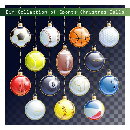 Big Collection of different Sports balls as a Christmas balls for your creative work. All elements are on separate layers. Vector illustration.