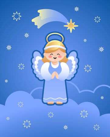 Cute illustration of an Angel on the clouds and the falling star of Bethlehem. Vector illustration.