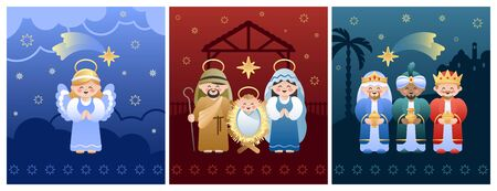 Collection of three Christmas Nativity Scenes. Holy Family, Angel and Three Wise Men. Vector illustration without transparency.