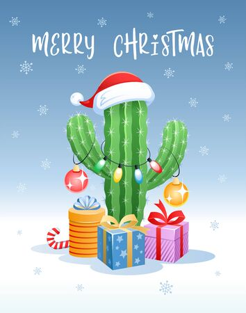 Merry Christmas. Greeting card with a funny cactus in the form of a Christmas tree. Santa Claus hat, holiday gifts and Christmas decoration. Vector illustration.