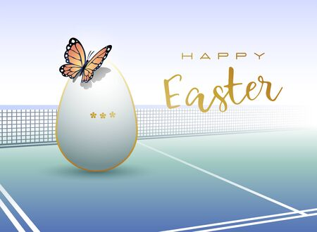Happy Easter. Easter egg in the form of a tennis ball with Butterfly. Vector illustration. Illustration