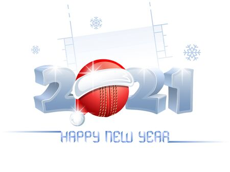 2021. Happy New Year! Sports greeting card with a cricket ball and Santa Claus hat on the background of a cricket pitch. Vector illustration.