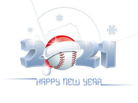 2021. Happy New Year! Sports greeting card with a baseball ball and Santa Claus hat on the background of a baseball field. Vector illustration.
