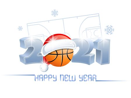 2021. Happy New Year! Sports greeting card with a basketball ball and Santa Claus hat on the background of a basketball court. Vector illustration.