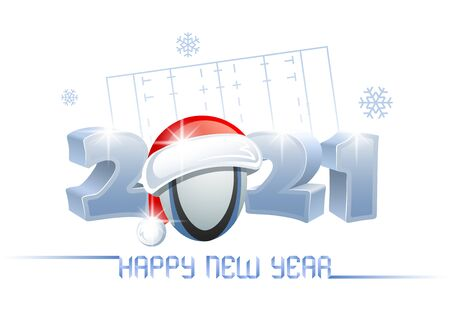 2021. Happy New Year! Sports greeting card with a rugby ball and Santa Claus hat on the background of a rugby field. Vector illustration.