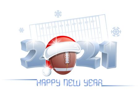 2021. Happy New Year! Sports greeting card with a football ball and Santa Claus hat on the background of a football field. Vector illustration.