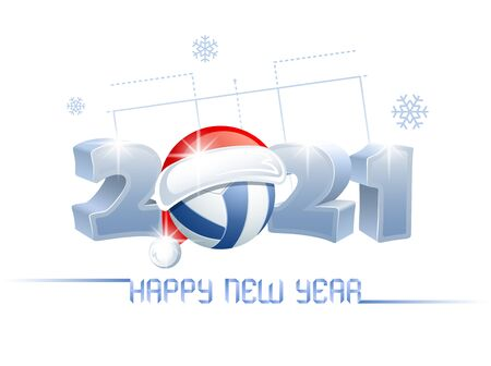 2021. Happy New Year! Sports greeting card with a volleyball ball and Santa Claus hat on the background of a volleyball court. Vector illustration.
