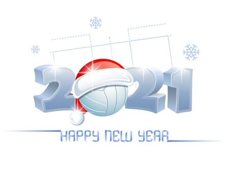 2021. Happy New Year! Sports greeting card with a white volleyball ball and Santa Claus hat on the background of a volleyball court. Vector illustration.