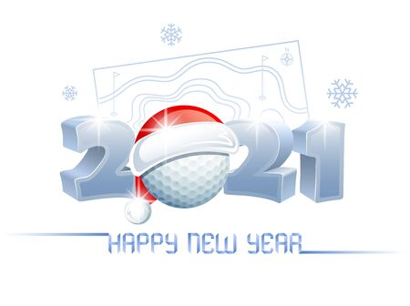 2021. Happy New Year! Sports greeting card with a golf ball and Santa Claus hat on the background of a golf course. Vector illustration.