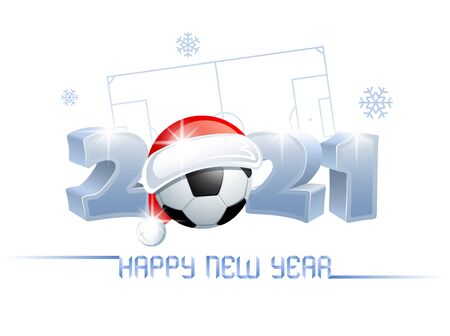 2021. Happy New Year! Sports greeting card with a soccer ball and Santa Claus hat on the background of a soccer field. Vector illustration.