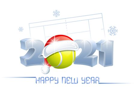 2021. Happy New Year! Sports greeting card with a tennis ball and Santa Claus hat on the background of a tennis court. Vector illustration.