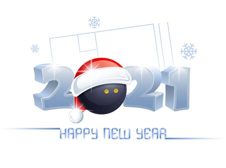 2021. Happy New Year! Sports greeting card with a squash ball and Santa Claus hat on the background of a squash court. Vector illustration.