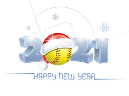 2021. Happy New Year! Sports greeting card with a softball ball and Santa Claus hat on the background of a softball field. Vector illustration.