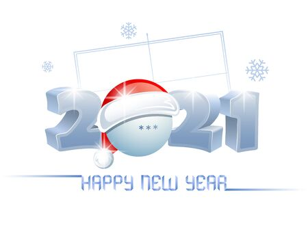 2021. Happy New Year. Sports greeting card with a table tennis ball and Santa Claus hat on the background