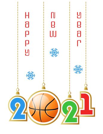 Happy New Year 2021. Sports greeting card with realistic basketball ball. Vector illustration.