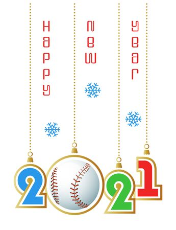 Happy New Year 2021. Sports greeting card with realistic baseball ball. Vector illustration. Vectores