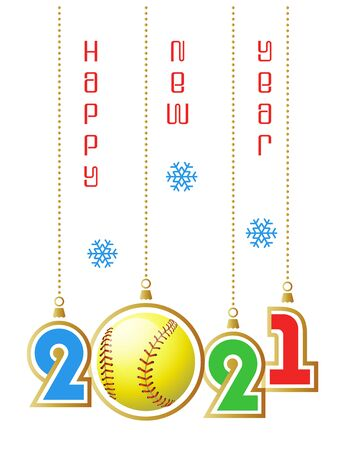 Happy New Year 2021. Sports greeting card with realistic softball ball. Vector illustration. Vectores