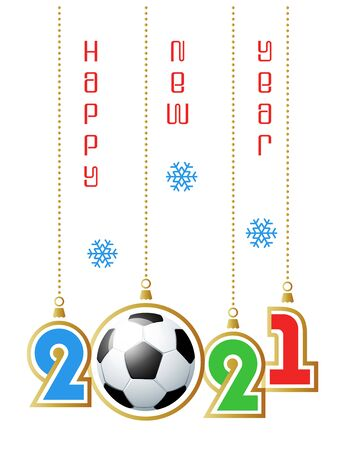 Happy New Year 2021. Sports greeting card with realistic soccer ball. Vector illustration. Vectores