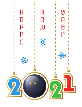 Happy New Year 2021. Sports greeting card with realistic squash ball. Vector illustration.