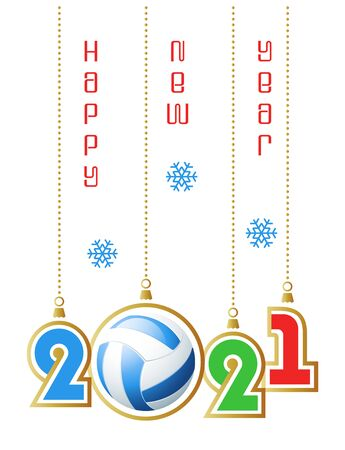 Happy New Year 2021. Sports greeting card with realistic volleyball ball. Vector illustration.