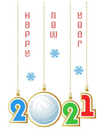 Happy New Year 2021. Sports greeting card with realistic white volleyball ball. Vector illustration. Vectores