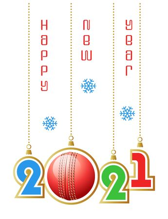 Happy New Year 2021. Sports greeting card with realistic cricket ball. Vector illustration.