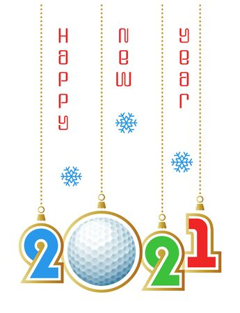 Happy New Year 2021. Sports greeting card with realistic golf ball. Vector illustration.