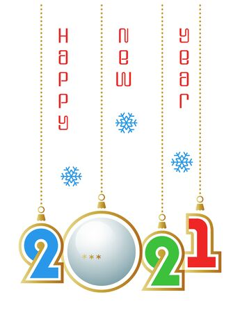 Happy New Year 2021. Sports greeting card with realistic ping pong ball. Vector illustration.