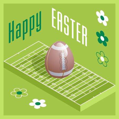 Happy Easter. Greeting card with 3D Easter egg as a football ball and Isometric football field. Vector illustration.