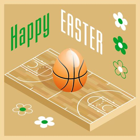 Happy Easter. Greeting card with 3D Easter egg as a basketball ball and Isometric basketball court. Vector illustration. Vectores