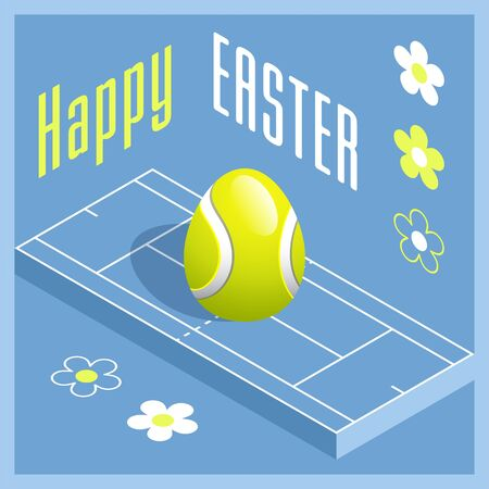 Happy Easter. Greeting card with 3D Easter egg as a tennis ball and Isometric tennis court. Vector illustration.