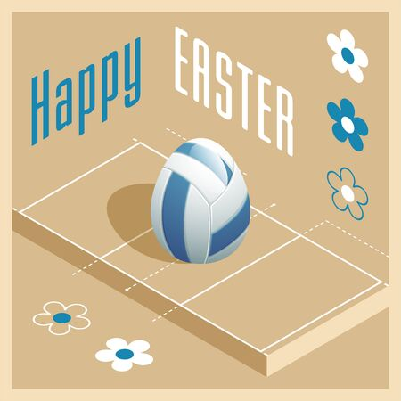 Happy Easter. Greeting card with 3D Easter egg as a volleyball ball and Isometric volleyball court. Vector illustration.