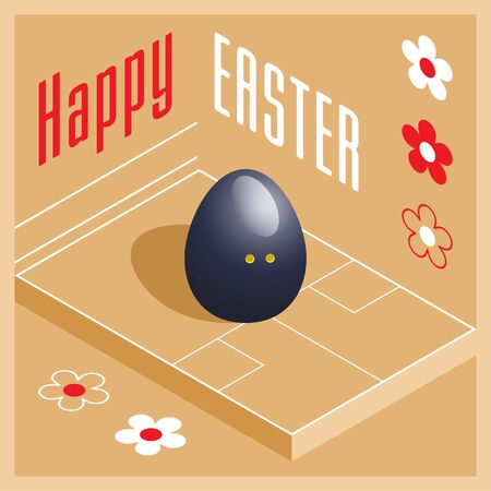 Happy Easter. Greeting card with 3D Easter egg as a squash ball and Isometric squash court. Vector illustration. Vectores