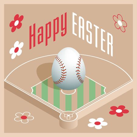 Happy Easter. Greeting card with 3D Easter egg as a baseball ball and Isometric baseball field. Vector illustration.