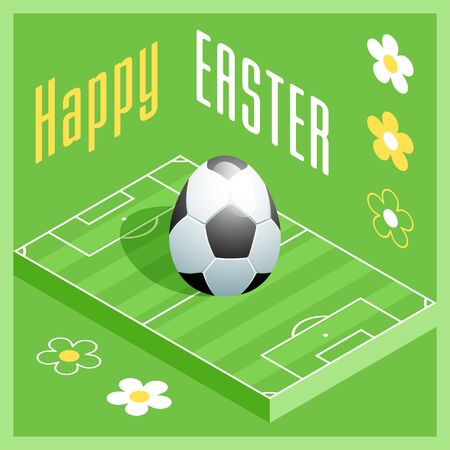 Happy Easter. Greeting card with 3D Easter egg as a soccer ball and Isometric soccer field. Vector illustration. Vectores