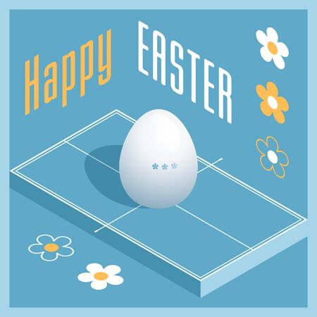 Happy Easter. Greeting card with 3D Easter egg as a table tennis ball and Isometric ping pong table. Vector illustration.