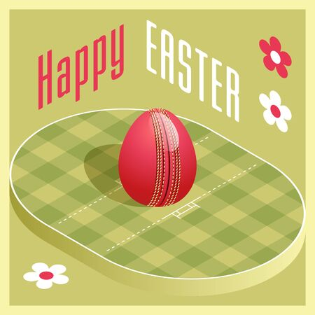 Happy Easter. Greeting card with 3D Easter egg as a cricket ball and Isometric cricket pitch. Vector illustration. Vectores