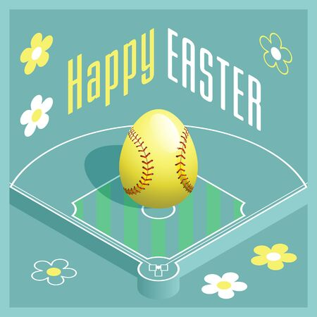 Happy Easter. Greeting card with 3D Easter egg as a softball ball and Isometric softball field. Vector illustration.