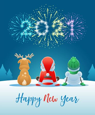 2021 Happy New Year. Cute Santa Claus, Reindeer and Snowman watching the Fireworks. Vector illustration. Vectores